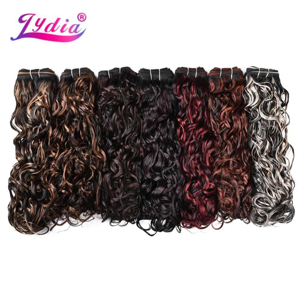 """Lydis 1 Uds. Extensiones de cabello de onda Natural sintética 18 """"-24"""" mechones de tejido con doble trama cosido en tejido de cabello para mujeres rubias"""