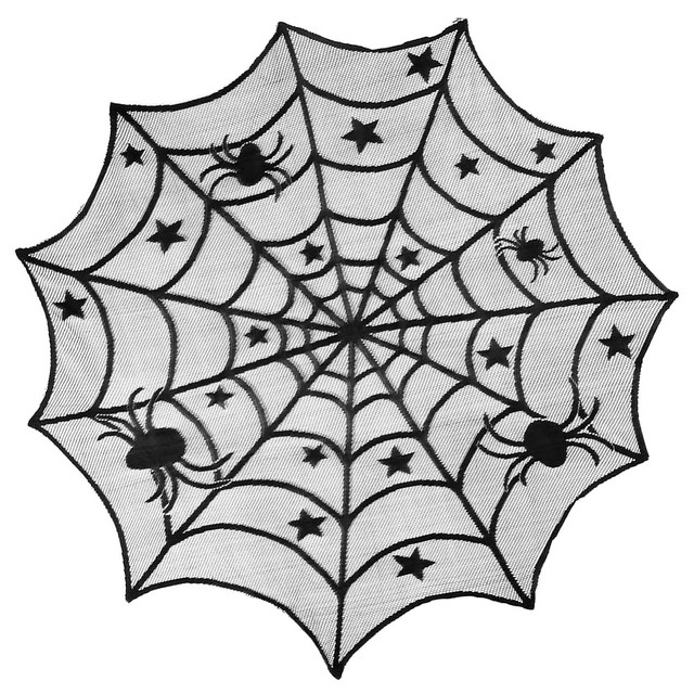 Gothic Black Lace Bat Spider Web Table Cloth Cover Topper Halloween Hollow  Decor