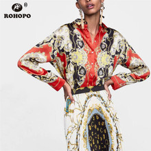 ROHOPO Autumn Floral Vintage Long Sleeve Blouse Red Chic Buttons Fly Holidays Top Shirt #HJ1659D