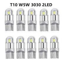 10PCS/Set 3030 2SMD W5W T10 Automotive LED Bulbs 194 168 501 Wide Light Interior Bulb 6000K For Auto Car Motorcycle 12V