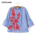 YEYELANA 2017 Women blosues floral embroidery plaid casual blouse full cotton flare sleeve loose shirts fashion tops blusas A022