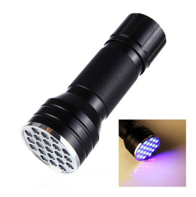 UV Ultra Violet 21LED Torch 395nm Aluminum Waterproof Powerful LED Flashlight Mini Blacklight Torch Lamp Battery Outdoor Camping image