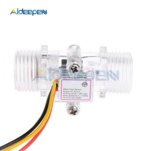 """Image 1 - Interruptor de Sensor de flujo de agua G1/2 """"medidor de flujo de líquido Control de agua caja transparente DC 5 15V uso para calentadores de agua, etc"""