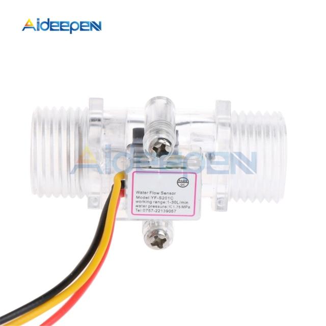 """Interruptor de Sensor de flujo de agua G1/2 """"medidor de flujo de líquido Control de agua caja transparente DC 5 15V uso para calentadores de agua, etc"""