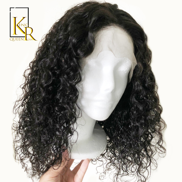 Curly Lace Front Human Hair Wigs For Women With Pre Plucked Bleached Knots  13 4 Lace Wig Brazilian Remy Hair Full End Black 9d8534e98