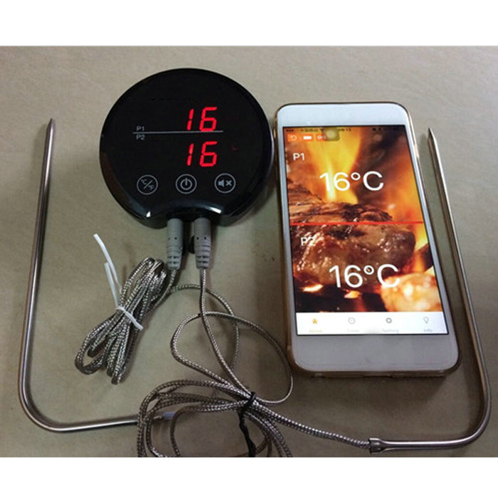 2 Probe Bluetooth Wireless Meat Thermometer Long Range Digital Kitchen Remote Thermometer For BBQ Grill Meat Oven Food Cooking