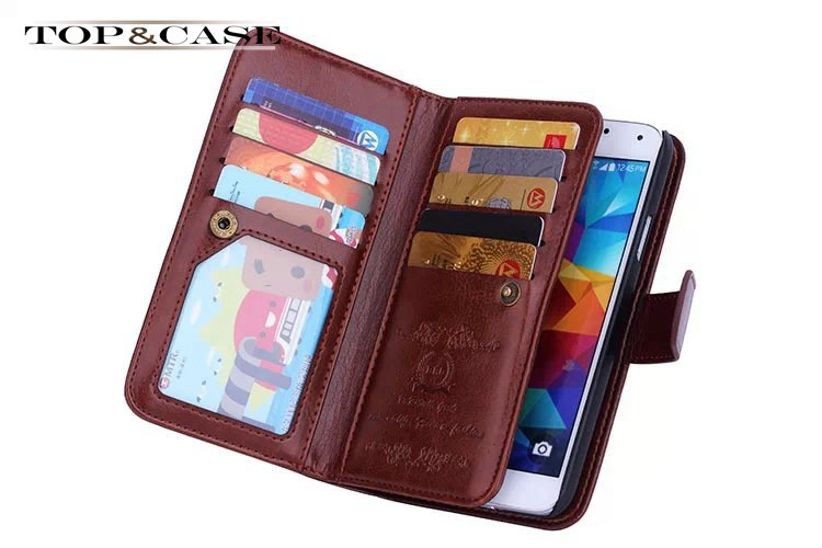 For Galaxy S5 Brand Flip Leather Case For Samsung Galaxy S5 I9600 Magnetic Wallet with Card Slot Cover Black Case Housing SJ1359