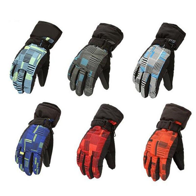 Cross Stripe Winter Ski Gloves Men Women Waterproof Warmer Snowboard Motorcycles Skiing Gloves For Winter Sports Snow Gloves