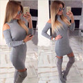 2017 Autumn Winter Dresses Fashion Women knitting Casual Long Sleeve Sexy Off Shoulder Mini Bodycon Gray Black Dress Vestidos