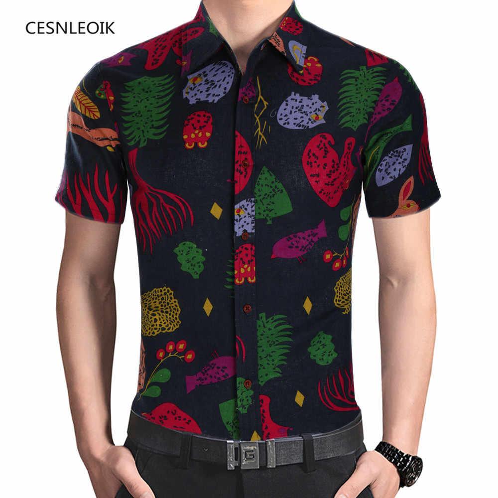 2018 модные Для мужчин s короткий рукав гавайская рубашка летние Повседневное цветочные рубашки для Для мужчин Азиатский Размеры M-4XL