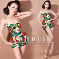 FREE SHIPPING Limited edition vintage sweet pin up flower color block ultra-short slim hip one piece shorts