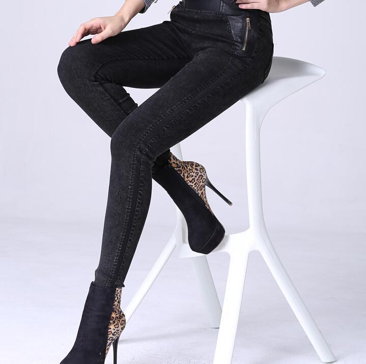 2017 winter warm Plus thick velvet leggings outer wear big yards Slim zipper women pants female feet plus size jeans F2806