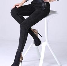2017 зима теплая Плюс толстый бархат леггинсы верхней одежды большой м Тонкий молнии женщины брюки женские ноги плюс размер джинсы F2806