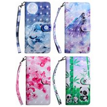 Panda Wolf Flower Leather Cases For Frame Samsung S7 Edge S8 S9 Plus A5 A6 A6s A7 A8 Plus A9 2018 A530 A730 Xcover4 G390F DP29G(China)