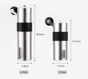 Image 2 - 2 Size Manual Ceramic Coffee Grinder Stainless Steel Adjustable Coffee Bean Mill With Rubber Loop Ring Easy Clean Kitchen Tools