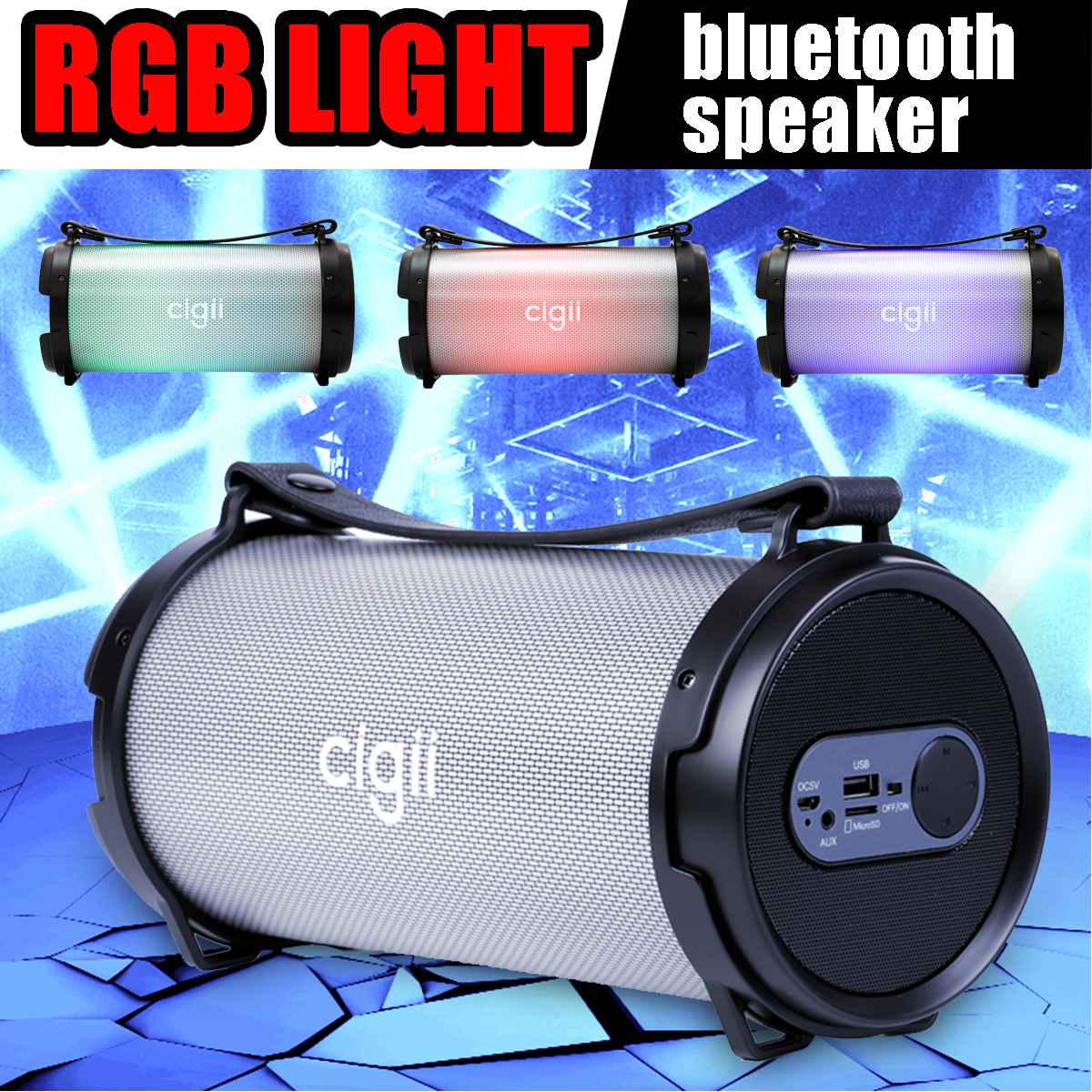 RGB Light bluetooth Speakers Bass Stereo Subwoofer AUX USB TF Card FM Radio for PC MID TV Speaker Box Outdoor Portable Speakers