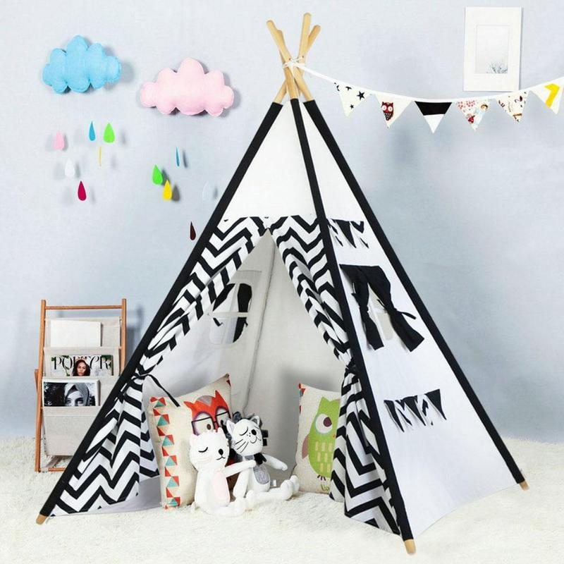 Dongzhur Black And White Indian Tent 4 Poles Kids Play Tent Cotton Canvas Teepee Children Toy Tent Playhouse Tipi For Baby black tree printed children teepee four poles kids play tent cotton canvas tipi for baby house ins hot foldable children s tent