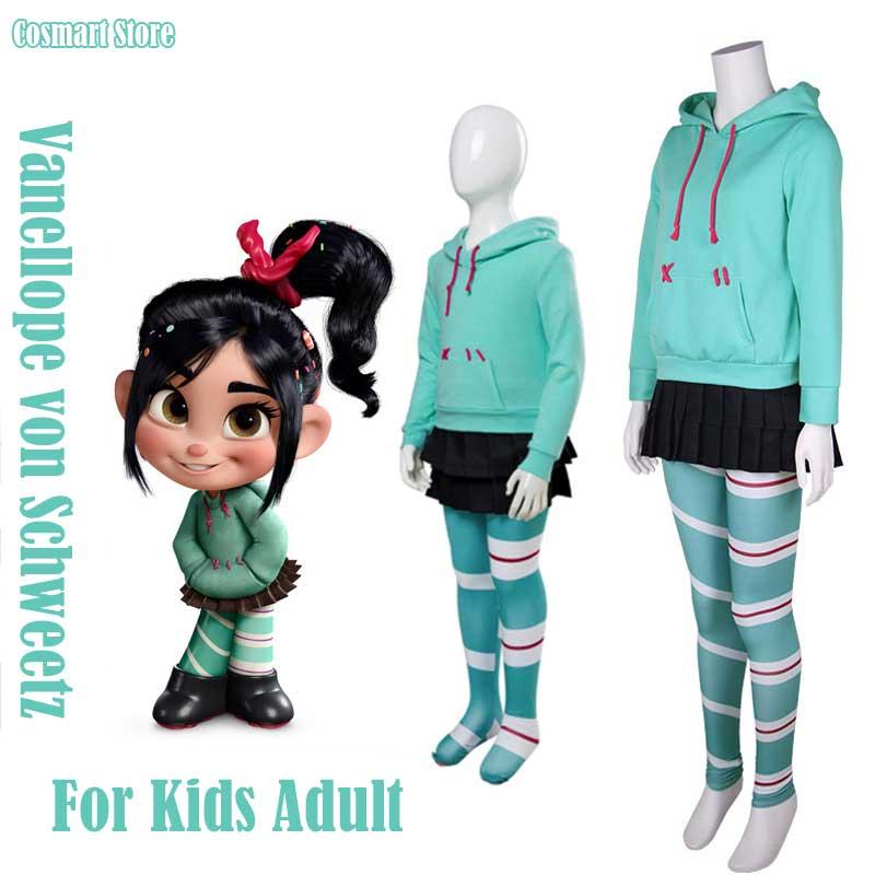 Movie Breaks Internet:Wreck-It Ralph Vanellope von Schweetz Cosplay Costume Hoodies Skirt Pantyhose Full set for Kids Adult