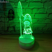 Cartoon Moana Princess 3D Lamp Bedroom Table Lamps Night Light Maui  7 Colors Change Touch Lamp  Figure Decor Toys Kids Gift недорого