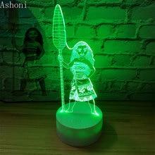 Karikatür Moana Prenses 3D Lambası Yatak Odası masa lambaları Gece Lambası Maui 7 Renk Değişim Dokunmatik Lamba Figürü Dekor Oyuncaklar Çocuklar Hediye