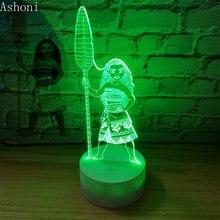 การ์ตูน Moana Princess 3D โคมไฟห้องนอนโคมไฟกลางคืน Maui 7 เปลี่ยนสีสัมผัสโคมไฟรูป Decor ของเล่นเด็กของขวัญ