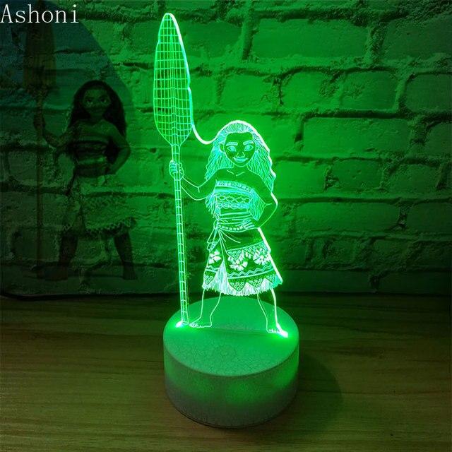 الكرتون Moana الأميرة ثلاثية الأبعاد مصباح طاولة لغرفة النوم مصابيح ليلة ضوء Maui 7 ألوان تغيير اللمس مصباح الشكل ديكور اللعب الاطفال هدية