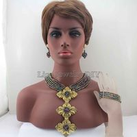 African Beads Jewelry Sets Nigerian Wedding African Crystal Beads Pandent Jewelry Set HD7843