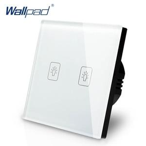 Image 4 - Interruptor de atenuación de 2 entradas, 1 vía, Wallpad, interruptor de pared de cristal blanco de lujo, Interruptor táctil Normal de 110 250V, estándar europeo