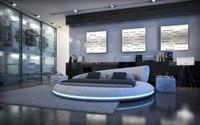 C558 современный king size круглая кожаная мягкая кровать роскошные grand мягкая кровать