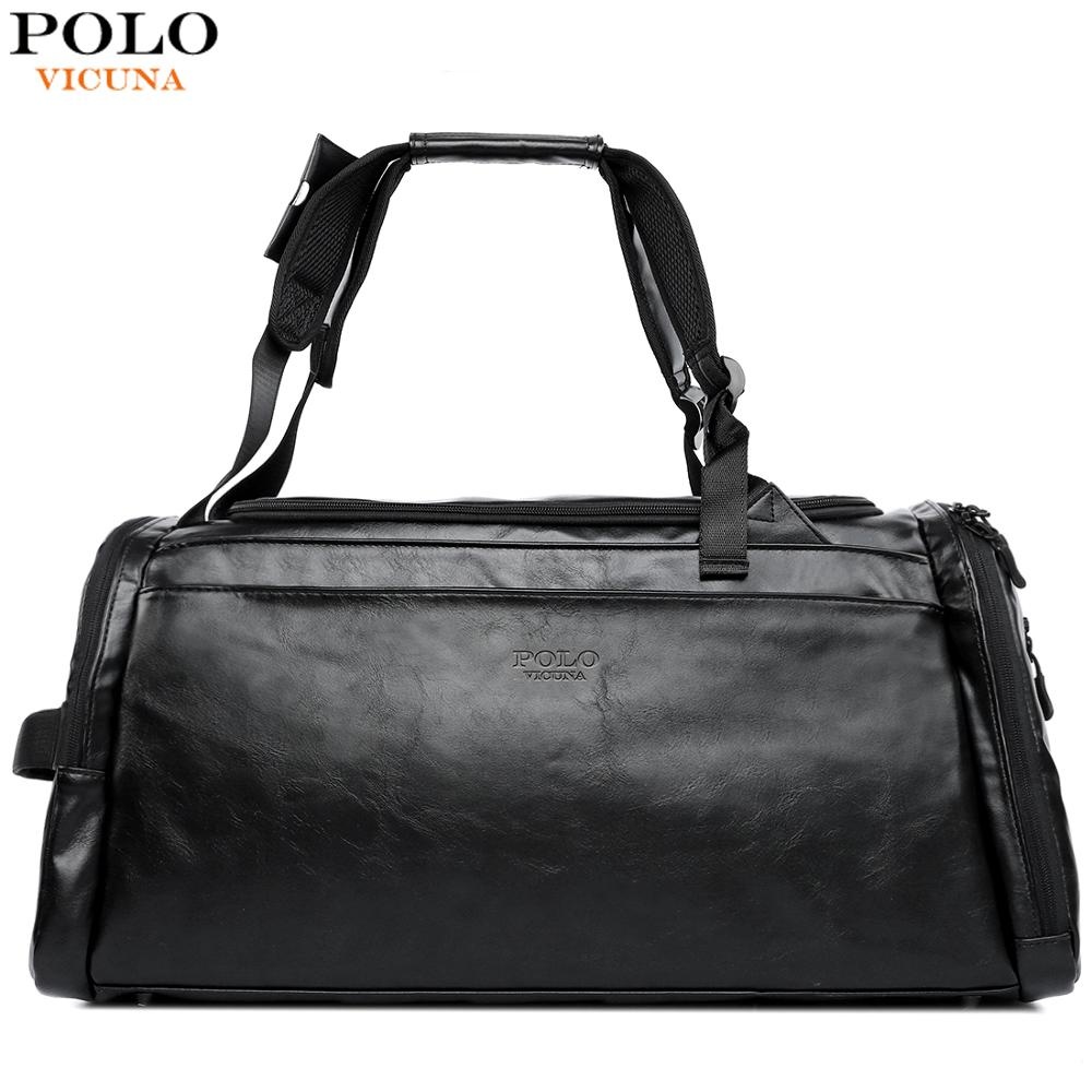 VICUNA POLO Multi functional Dual Use New Leather Black Men Travel Bag High Quality Business Laptop