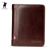 WilliamPolo 2017 Oil Wax Leather Vintage Design Brand Wallet Men Coin Short Men S Short Bifold