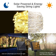Solar String Light 10m 20m 100LED Silver wire Fairy Tale Indoor Outdoor Waterproof led Light Garden Family Ball Party Christmas