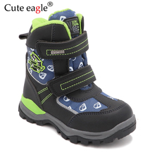 Cute eagle New Winter Boys Snow Boots Pu Leather Mid-Calf Child's Shoes Plush Rubber Winter Warm Wool Boots for Boys EU 27-32