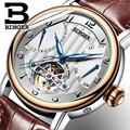 2019 настоящие Роскошные Брендовые мужские автоматические механические сапфировые часы Бингер, водонепроницаемые часы с кожаным ремешком
