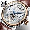 Genuine Swiss BINGER Brand Men Automatic Mechanical Self Wind Sapphire Watches Calendar Waterproof Leather Strap Hollow