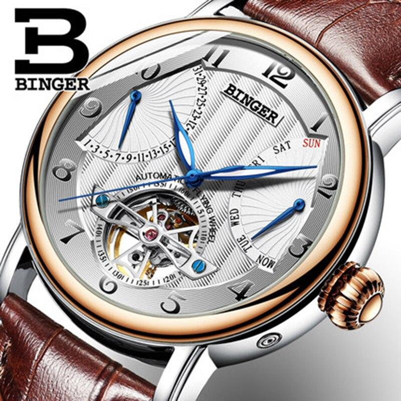 Véritable Luxe BINGER Marque hommes automatique mécanique auto-vent saphir montres calendrier étanche bracelet en cuir Creux