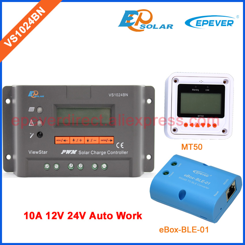 PWM regulator voltage 12V 24V VS1024BN 10A MT50 for solar controller user setting and control bluetooth for wirelss control vs1024bn new pwm controller network access computer control can connect with mt50 for communication