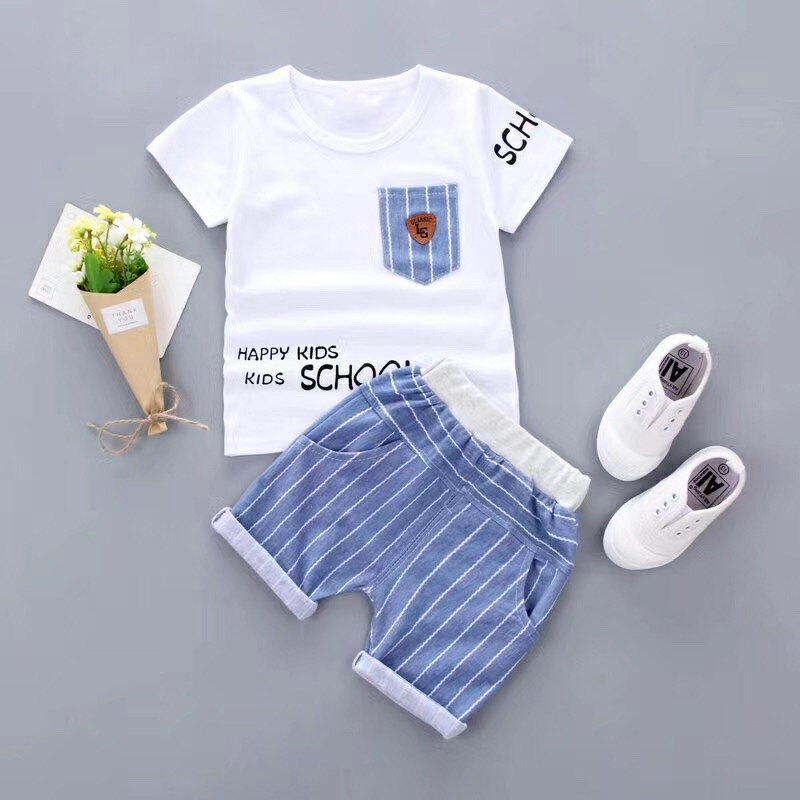 Baby Boy Clothing Set Summer Letters Short Sleeve T-Shirts+ Striped Pants Suit Causal Children Clothes Set