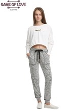 Game Of Love Women's Drawstring Waist Front Porkchop Pocket Joggers Pants