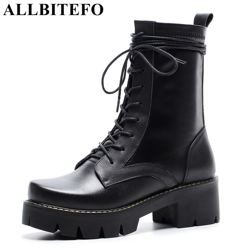 Фотография ALLBITEFO genuine leather+pu thick heel platform women boots fashion casual medium heel martin boots winter boots bota de neve