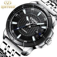 KINYUED Watch Men Luxury Waterproof Simple Design Dial Luminous Pointer Mechanical Steel Strip Automatic Watches