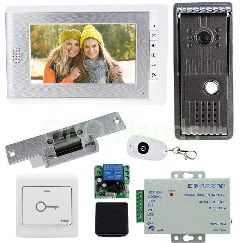 New 7'' color video monitor + IR night vision camera doorbell video door phone intercom system with electric lock+power supply 7 inch video doorbell tft lcd hd screen wired video doorphone for villa one monitor with one metal outdoor unit night vision
