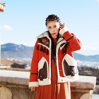IRINAW244 Новое поступление 2018 в этническом стиле винтажные с вышивкой и кисточками Искусственная кожа лоскутное овечьей шерсти замшевая куртк