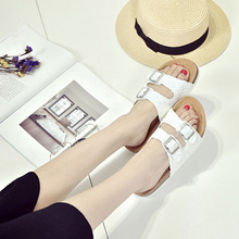 Summer Sequins Beach Cork Slippers Sandals Casual Double Buckle Clogs Women Non-slip Flip Flops Flats Shiny Shoes
