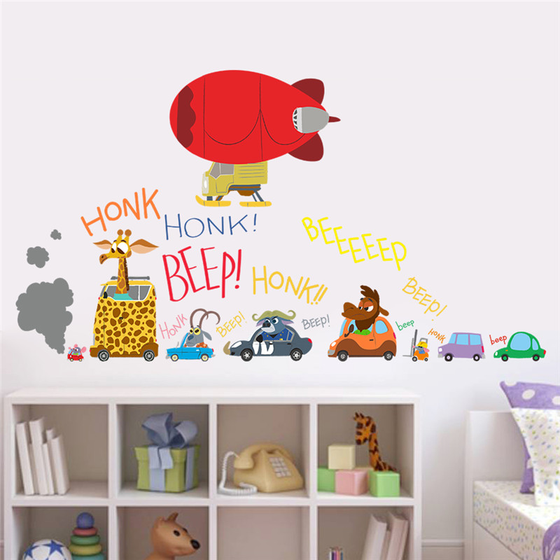 Us 2 32 30 Off The Latest Movie Zootopia Wall Stickers Cartoon Car Aircraft For Kids Rooms Movie Decals Nick Fox Judy Rabbit Collectible Gifts In