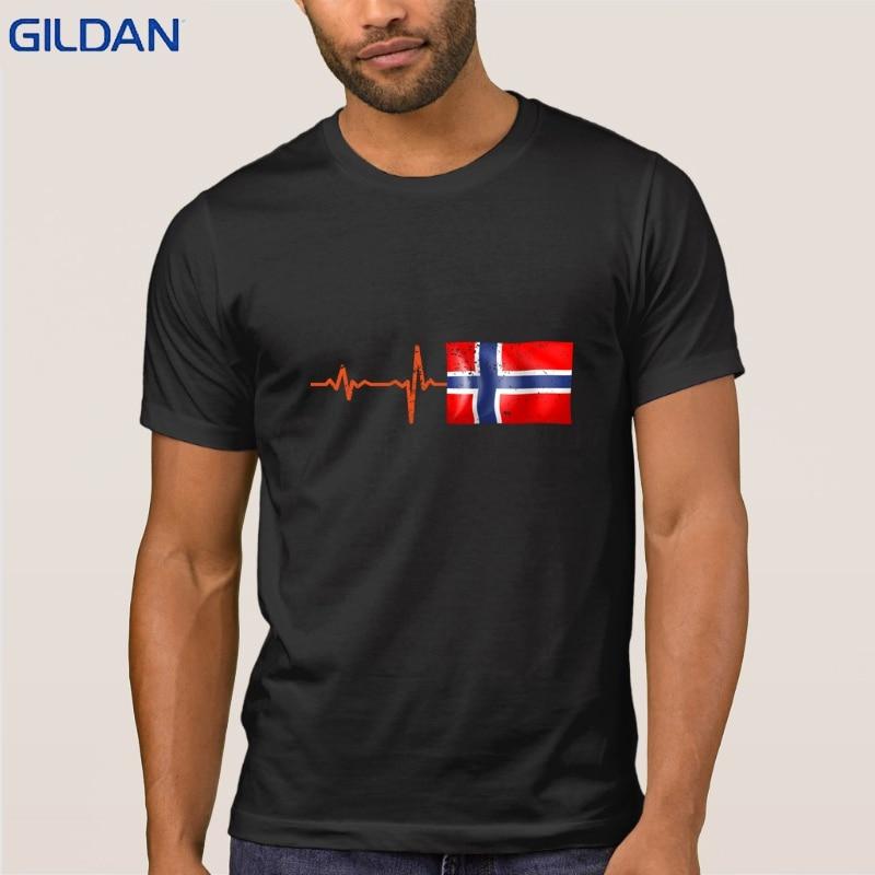 Heartbeat Noruega bandera regalo camiseta crear Normal hombres camiseta Unisex Classic Funky camiseta S-3xl camiseta para hombres barato venta