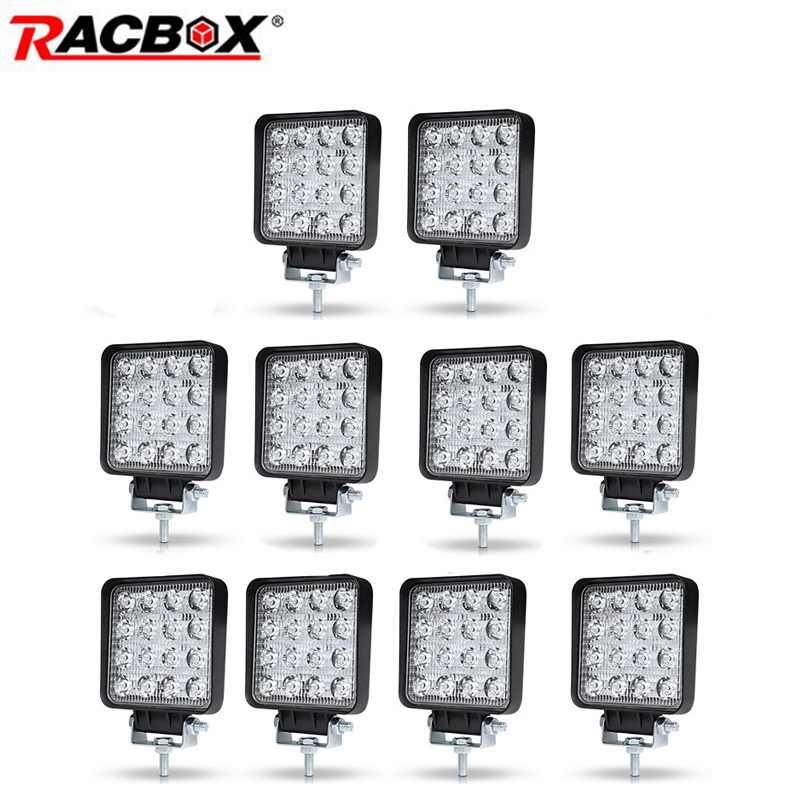 10pcs 4 inch 48 42W Offroad LED Work Light Spotlight Flood Spot Beam Drive Lamp for