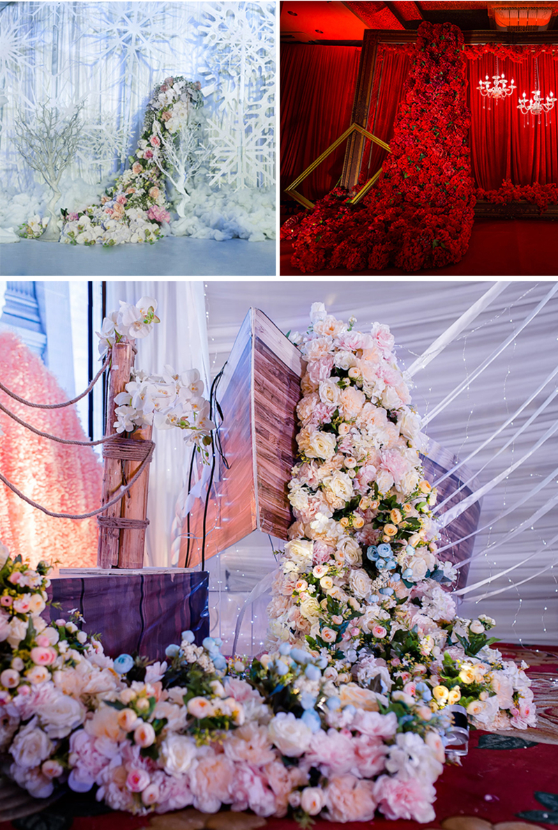 JAROWN Wedding Props Flower Row Trailing Floral Set Flower Wall Welcome Area Stage Layout Decor Home Party Decoration (12)