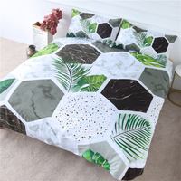 BlessLiving Marble Bedding Modern Terrazzo Duvet Cover 3 Pieces Tropical Green Palm Leaves Bedspread Geometric Bed Set Wholesale