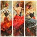 Alta habilidad artista hecho a mano puro impresión español Flamenco bailarín pintura al óleo sobre lienzo hermoso arte de la pared para la sala